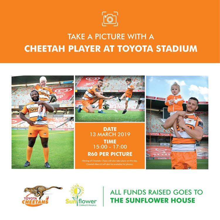 Come and take a picture with a Toyota Cheetah player in aid of the Sunflower House.