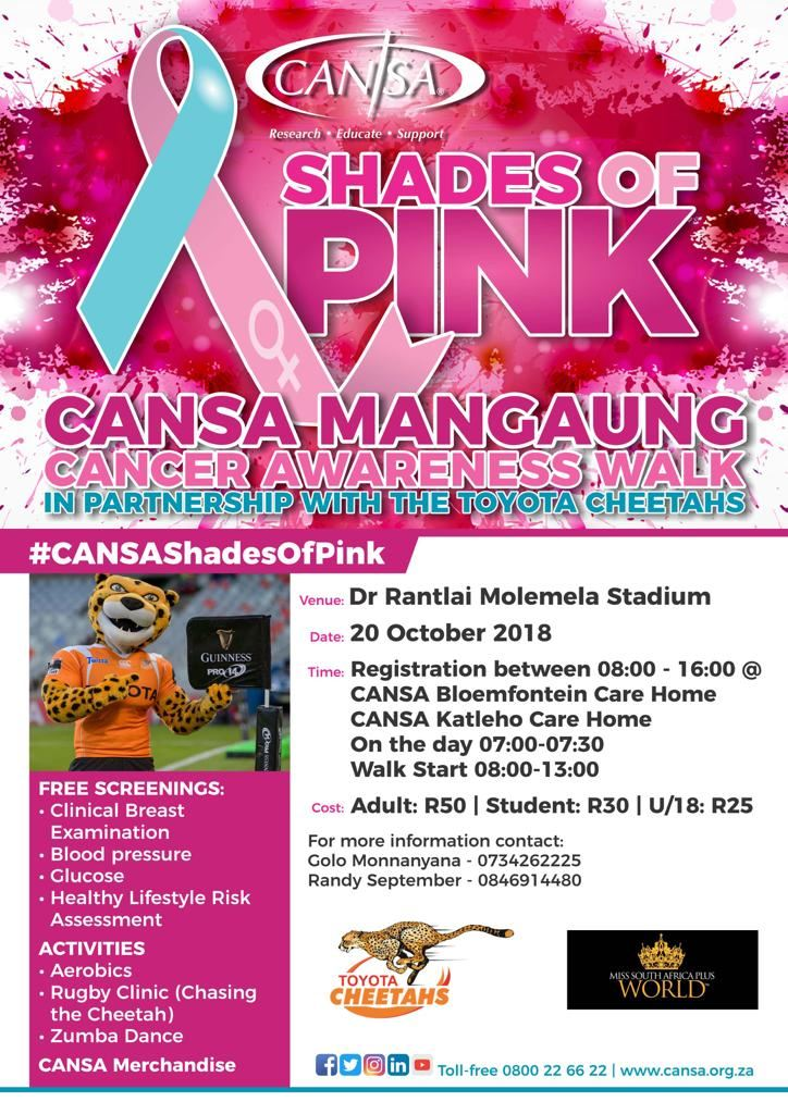 CANSA Mangaung cancer awareness walk with the Toyota Cheetahs